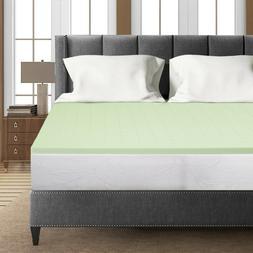 Crown Comfort 1.5 Inch Green Tea Infused Memory Foam Bed Top