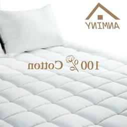 ANMINY 100%Cotton Waterproof Mattress Pad Cover Fitted Toppe