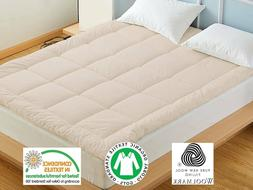 100% Natural Wool Mattress Topper | Lambswool Mattress Pad,