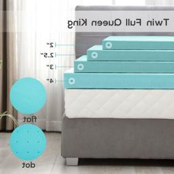 2/2.5/3/4'' Blue Comfort Gel Memory Foam Mattress Topper-Twi