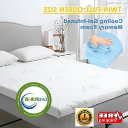 2/3-Inch Comfort Memory Foam Mattress Gel-Infused Topper Twi