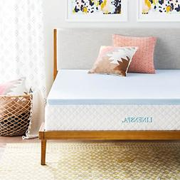 LINENSPA 2 Inch Gel Infused Memory Foam Mattress Topper, Twi