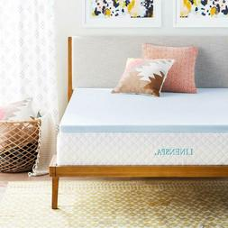 LINENSPA 2 Inch Gel Infused Memory Foam Mattress Topper - Qu