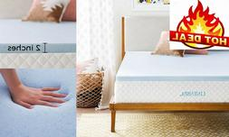 2 Inch Gel Memory Foam Mattress Topper Cooling Airbed Pad Al