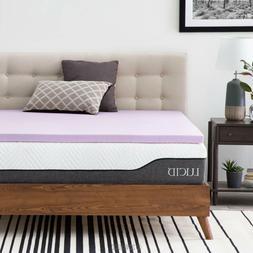 LUCID 2 inch Lavender Infused Memory Foam Mattress Topper -