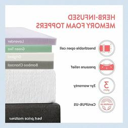 Best Price Mattress  2'' Memory Foam Topper Calming Green Te