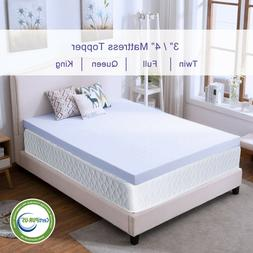 Memory Foam Mattress Topper 2.5''/3''/4'' Queen King Twin Fu