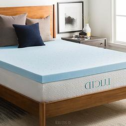 LUCID 3-inch Gel Memory Foam Mattress Topper - Full XL