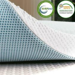 Subrtex 3 Inch Gel-Infused Memory Foam Bed Mattress Topper H