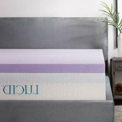 LUCID 3 Inch Lavender Infused Memory Foam Mattress Topper -