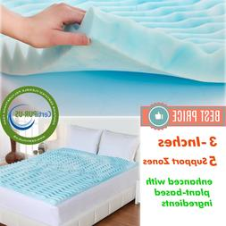 3 INCH Memory Foam Mattress Topper King Size Gel Orthopedic
