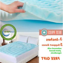 3 INCH Memory Foam Mattress Topper Queen Size Gel Cover bed