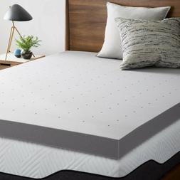 4 Inch Bamboo Charcoal Infused Memory Foam Mattress Topper -