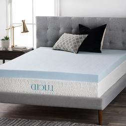 LUCID 4 Inch Cooling Gel Memory Foam Mattress Topper - Fast/
