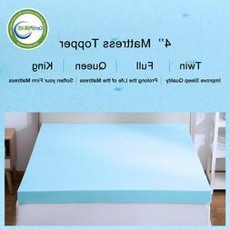 4 Inch Memory Foam Mattress Topper Blue Swirl Comfort Collec