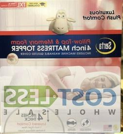 "Serta 4"" Pillow-Top and Memory Foam Mattress Topper - Twin X"