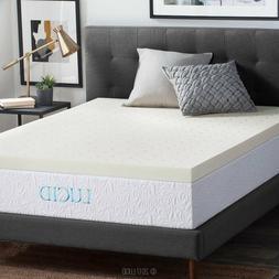 LUCID 3 Inch Ventilated Memory Foam Mattress Topper 3-Year W