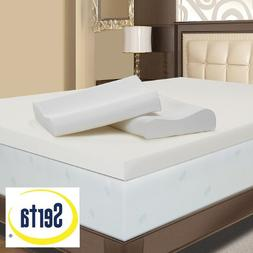 Serta 4-inch Memory Foam Mattress Topper with Contour Pillow
