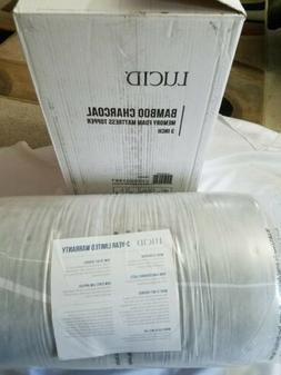 LUCID 3 Inch Bamboo Charcoal Memory Foam Mattress Topper - Q