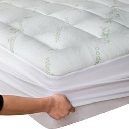 Bamboo Matress Topper Cooling Pillow Top Mattress Pad Breath