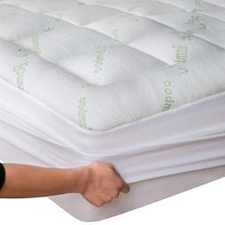 Bamboo Mattress Topper Cooling Pillow Top Mattress Pad Breat