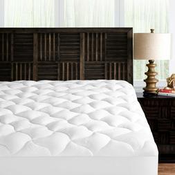 Bamboo Mattress Pad Soft Plush Cover Cooling Topper Hotel Qu
