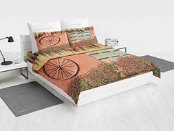 Barn Wood Wagon Wheel Baby Girl Bedding Set Country House in