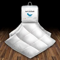 Bed Mattress Pad Down Cover Pillow Top Topper Overfilled Bed