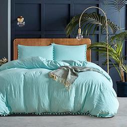 Blue Pompon Duvet Cover Sets - MeMoreCool 100% Polyester Pur
