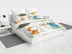 Cabin Decor Bed Set King Size Wild Forest Animals Set with L
