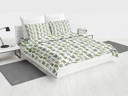 Cactus Rustic Bedding Set Hand Drawn Foliage Pattern with Or