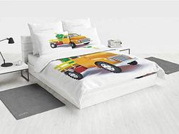 Christmas Bedding Set Queen Yellow Vintage Truck and Decorat