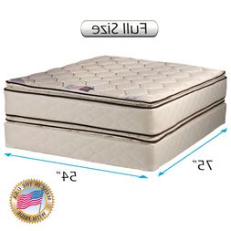 Coil Comfort Pillow Top Mattress and Box Spring Set  Double-