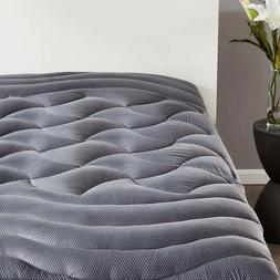 Cooling Grey thick Mattress Topper Overfilled Fluffy Deep Po