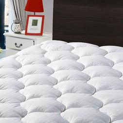 Mattress Pad Cooling Fitted Cotton Cover Soft Pillow Top Bed