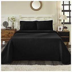 Superior 100% Cotton Basket Weave Bedspread with Shams, All-