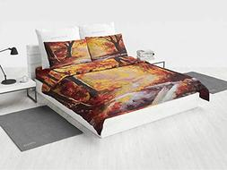 Country Bedding Sets Full Size Paint of a Forest with Autumn