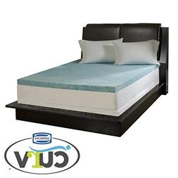 "Simmons Curv 3"" Flat Gel Memory Foam Mattress Topper, Full,"