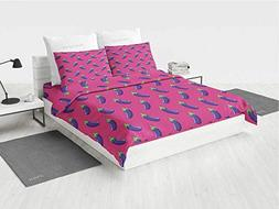 Eggplant Silk Bedding Set Symmetrically Lined Eggplants on a
