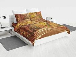 Fall boy Twin Bedding Set Scenic View Outdoors Empty Roadway