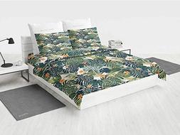 Floral Decor Camper Bedding Set Botanic Tropic Leaves and Fl