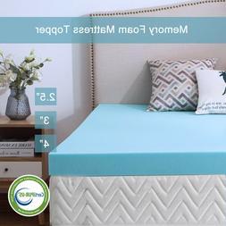 Gel Memory Foam Mattress 2.5/3/4 Inch Topper Blue Ventilated