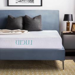LUCID 10 Inch Gel Memory Foam Mattress - Medium Feel - Certi