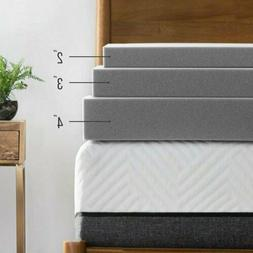 "Gel Memory Foam Mattress Topper 3"" 4"" Inch Bamboo Charcoal B"