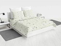 Grey Decor Comforter Bedding Set Airline Route Map Flight Je