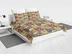 Hippie Twin Bedding Set Vintage Pattern with Vivid Colorful