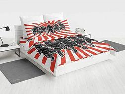 Japanese dc Twin Bedding Set Group of Samurai Ninja Posing a