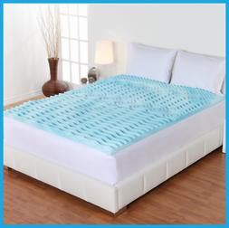 "2"" Cooling Gel Foam Mattress Topper Pad Bed Queen Size Ortho"