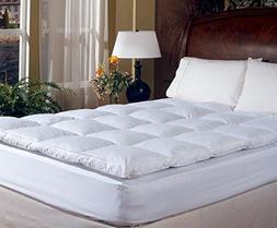 King Size Overstuffed Feather Bed Pillow Top Mattress Topper