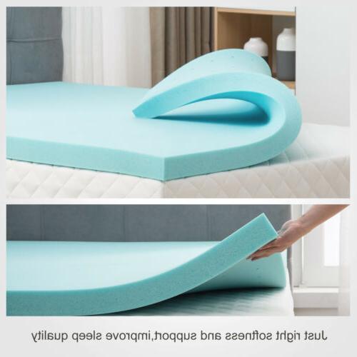2/2.5/3/4'' Blue Gel Memory Foam Mattress Topper-Twin Full Queen